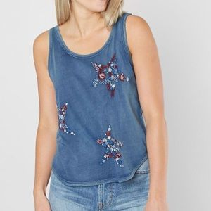 Tops - 🇱🇷 NWT LUCKY BRAND STARS /STRIPES EMBROIDER TANK